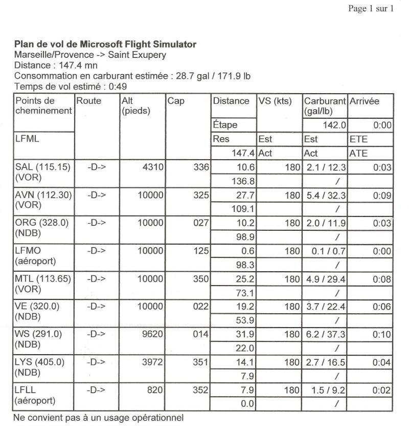 vol ifr LFML dest LFLL avions ,helicos Plan_d10