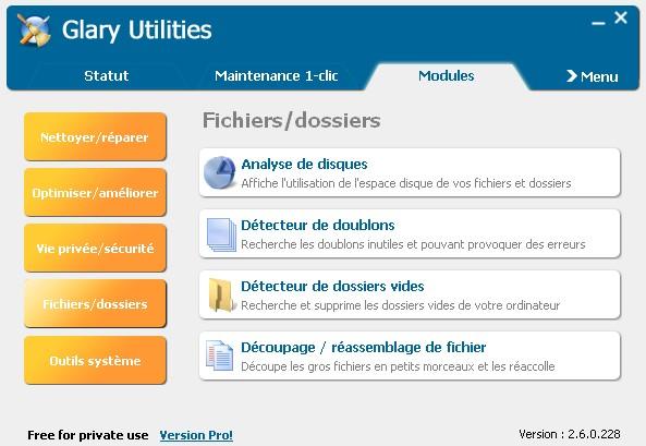 Logiciel Glary Utilities - Outil de maintenance - Nettoyeur Captur22