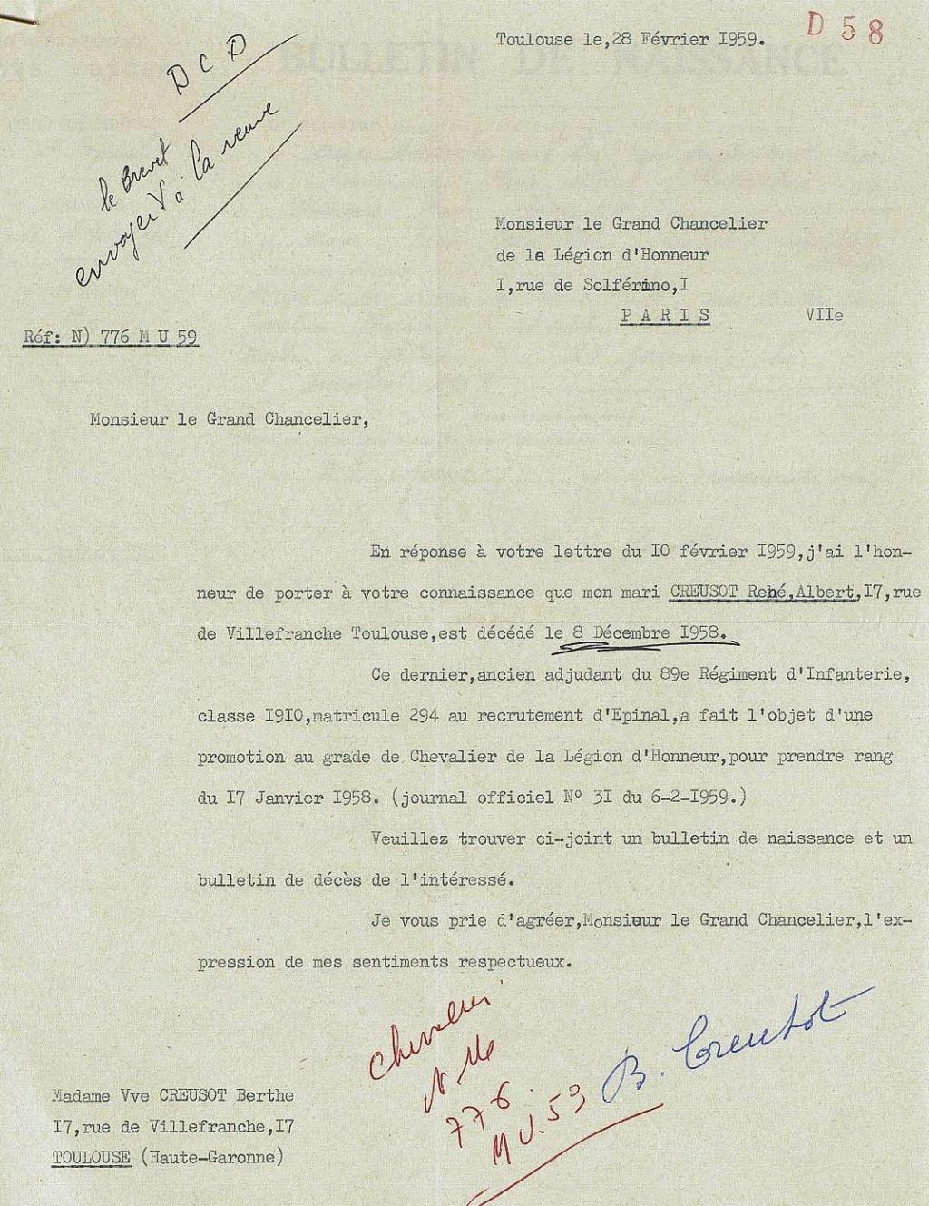 diplôme Légion d' Honneur ancien poilu classe 1910 des Vosges Frdafa10