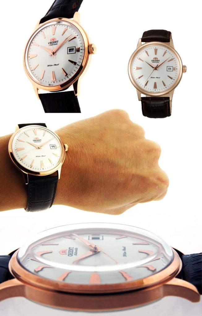 montre louis pion look vintage fond clair couleur or rose cuir marron Orient10