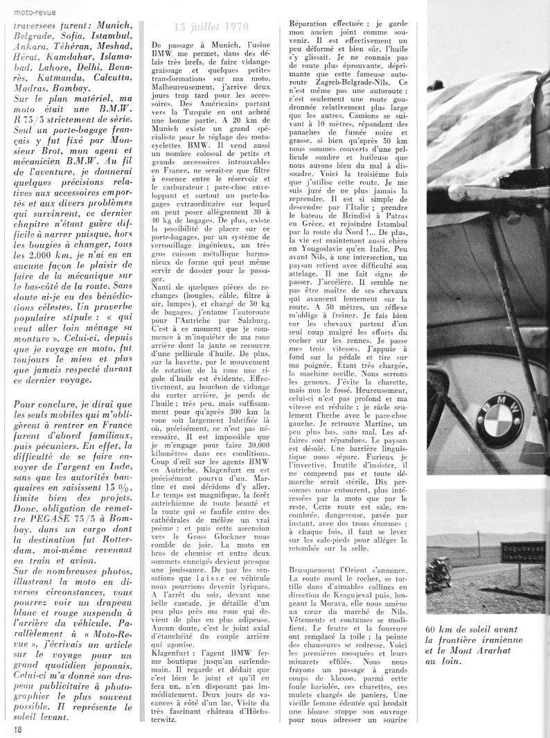 reportage Moto-Revue 1970 : PARIS-BOMBAY, 27000 km en R75/5. 2022_114