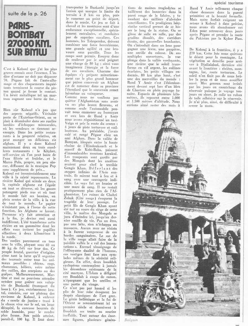 reportage Moto-Revue 1970 : PARIS-BOMBAY, 27000 km en R75/5. 2022_710