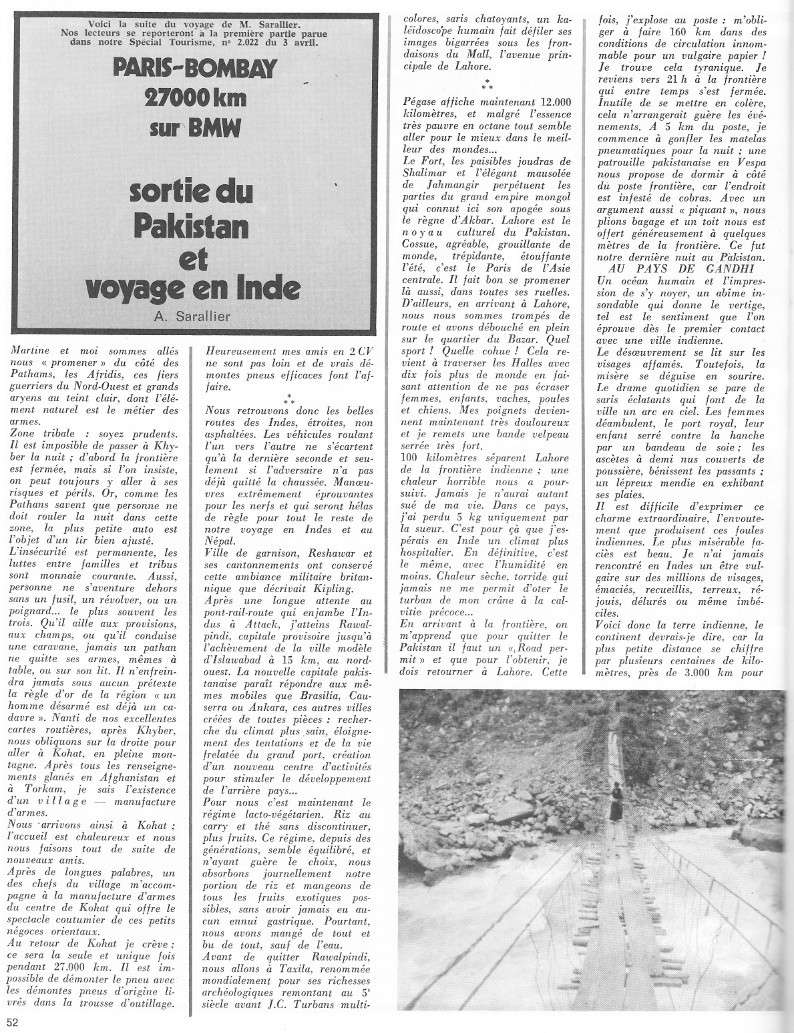reportage Moto-Revue 1970 : PARIS-BOMBAY, 27000 km en R75/5. 2026_510