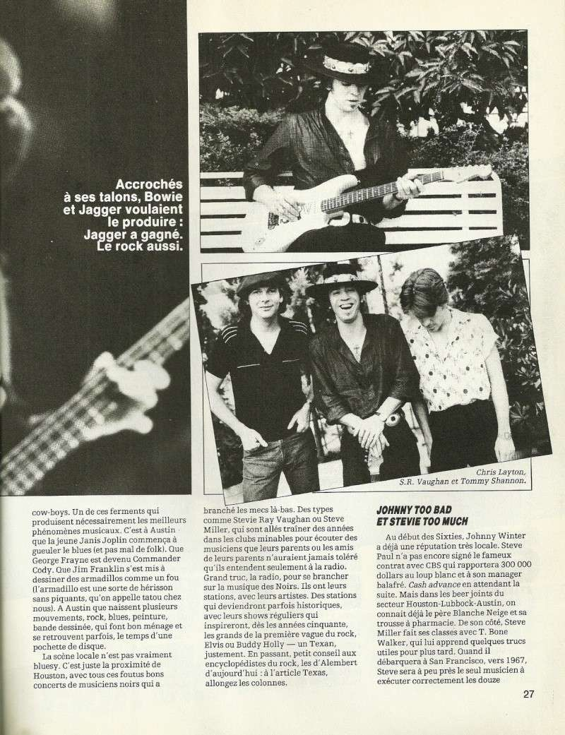 "Stevie Ray Vaughan ""Guitare Magazine"" Septembre 1982 Num25c15"