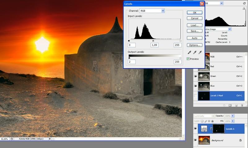 Remoção de efeito Flare em Photoshop. Levels10