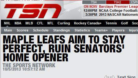 GAME DAY: Ottawa Senators @ Toronto Maple Leafs - 7:00pm - Sat. Oct. 5th, 2013 Captur10