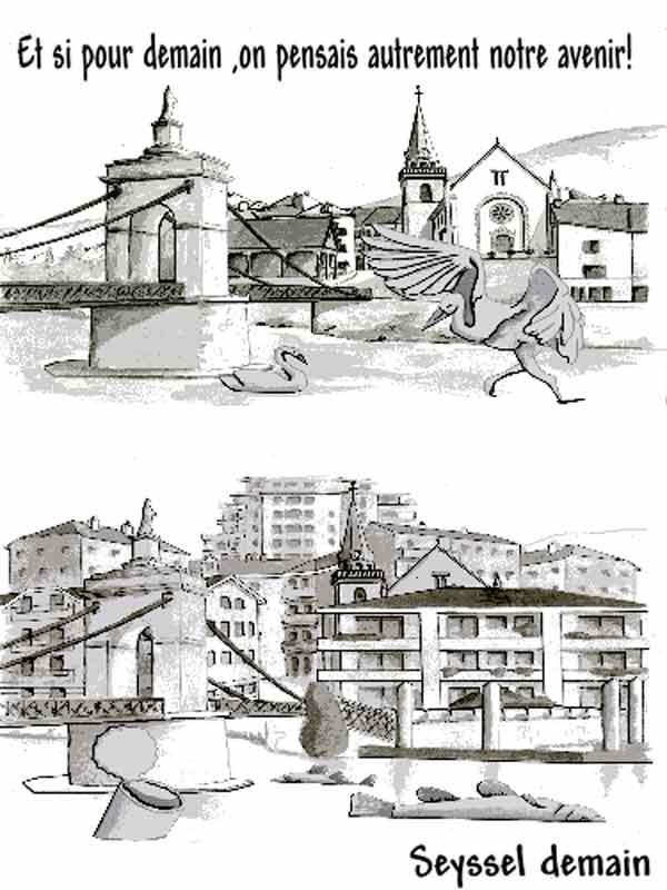 Dessins: Seyssel avant les élections municipales 2008 08-01-12