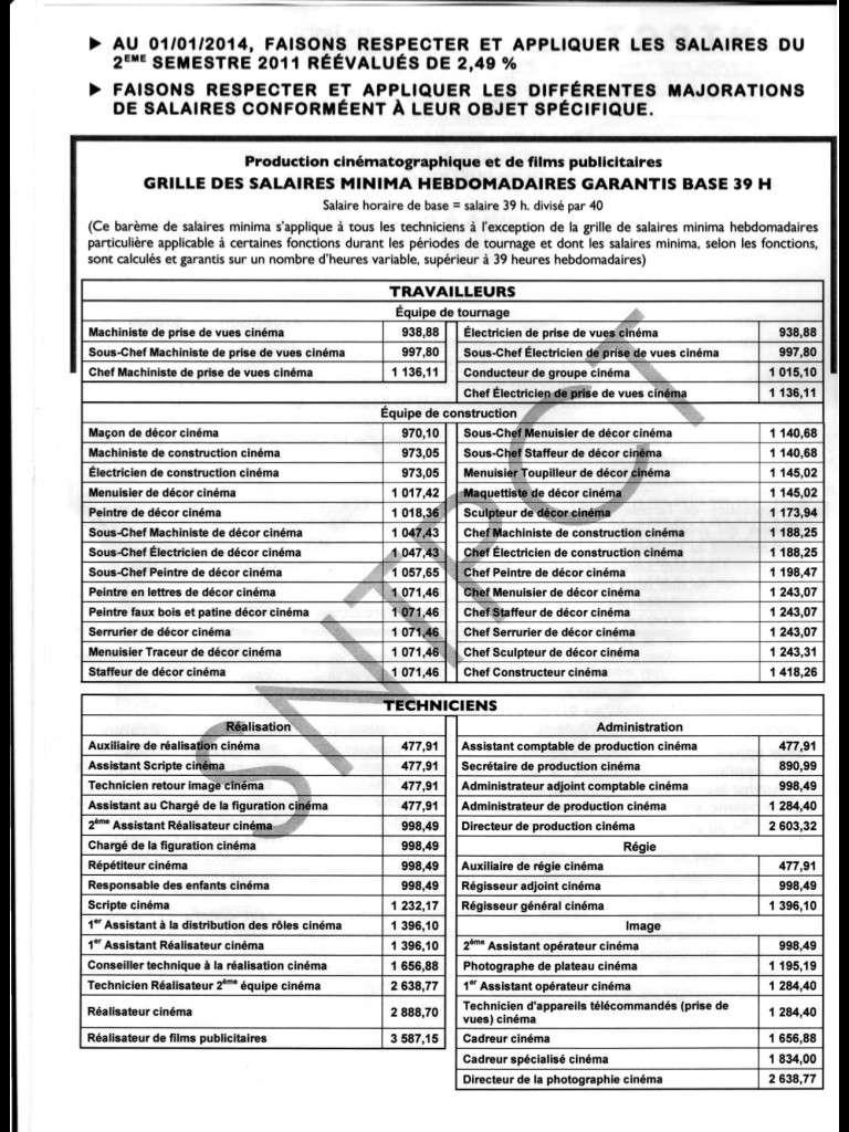 Barème des salaires minima au 1er janvier 2014 Image15