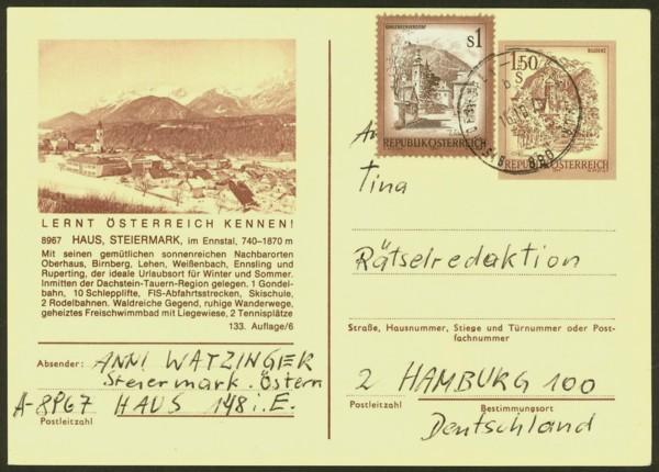 """schönes - Ganzsachen mit Wertstempel """"Schönes Österreich"""" P_441_16"""