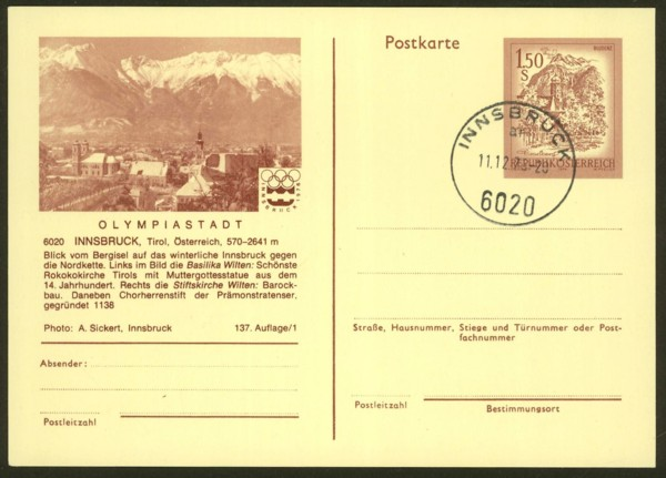 """schönes - Ganzsachen mit Wertstempel """"Schönes Österreich"""" P_443a10"""