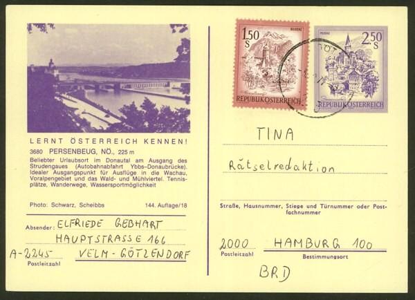 """schönes - Ganzsachen mit Wertstempel """"Schönes Österreich"""" P_446_54"""