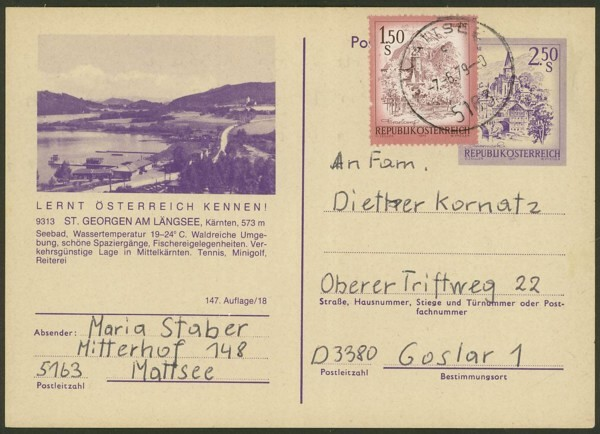 """schönes - Ganzsachen mit Wertstempel """"Schönes Österreich"""" P_451_14"""