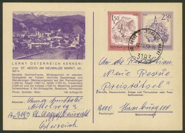 """schönes - Ganzsachen mit Wertstempel """"Schönes Österreich"""" P_451_20"""