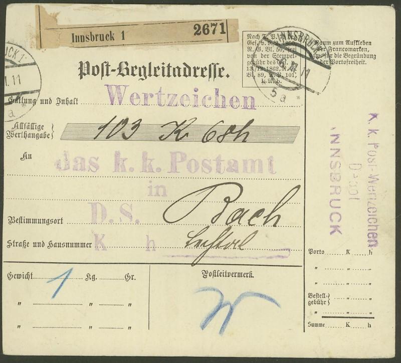 Buchprojekt HILFE - Stempel aus Innsbruck auf Belegen gesucht Pbegla10