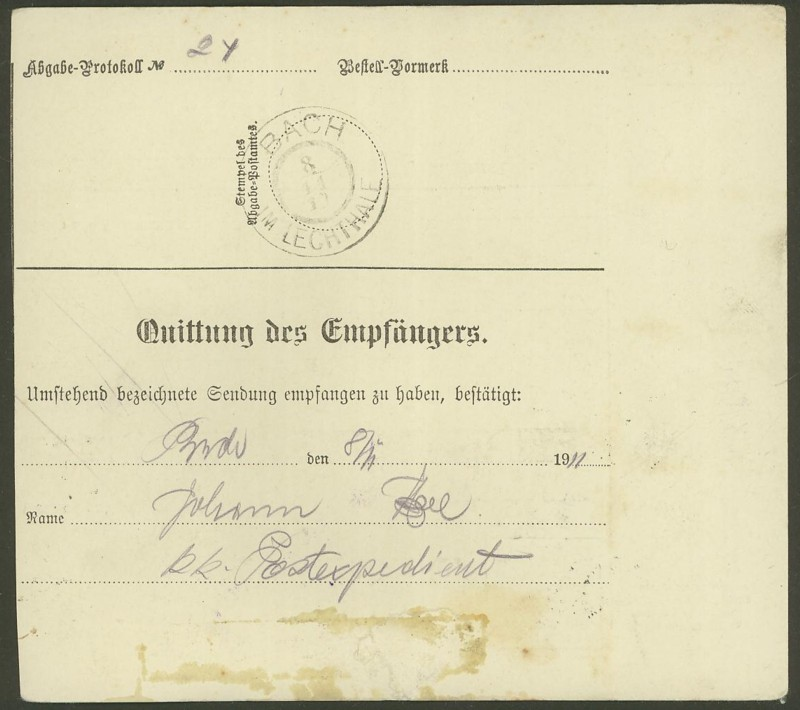 Buchprojekt HILFE - Stempel aus Innsbruck auf Belegen gesucht Pbegla11