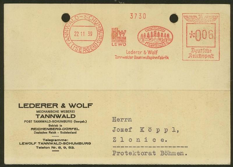 1945 - Freistempel / Absenderfreistempel Deutsches Reich (bis 1945) Tannwa10