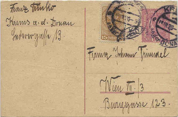 Inflation in Österreich - Belege - 1918 bis 1925 19200310