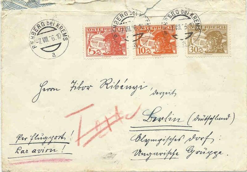 Flugpost mit Bahn befördert Briefv10