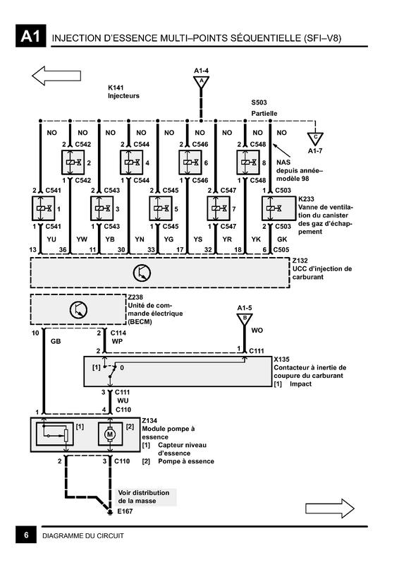 Schéma électrique pompe essence v8 Sch210