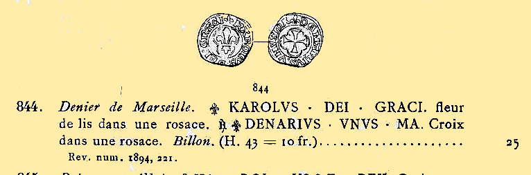 Magnifique Denier Coronat de Marseille pour Charles VIII Ciani810