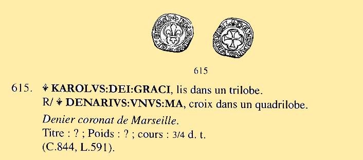 Magnifique Denier Coronat de Marseille pour Charles VIII Duples10