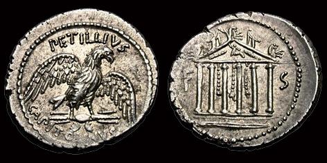 Denier de la Gens PETILLIA, au nom du monétaire Petillius Capitolinus F_et_s10