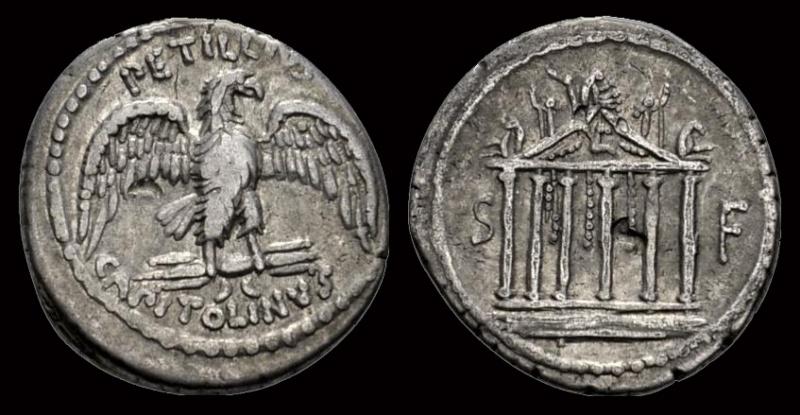 Denier de la Gens PETILLIA, au nom du monétaire Petillius Capitolinus Petill10