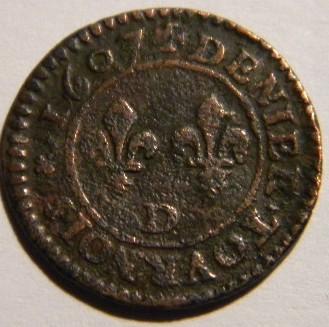 CGKL#206.B - Denier-Tournois Henri IV - 1607 52a60911