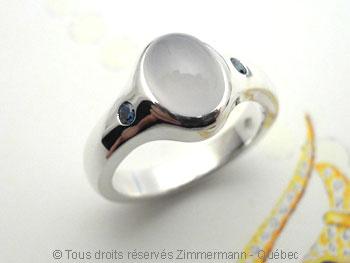 cabochon ovale - Bague argent cabochon calcédoine 6X8 et deux diamants bleus (H) 3/100 ct Baacb011