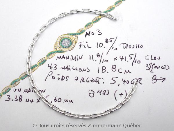 Trois échantillons de chaînes argent en vue d'une commande en platine. Dscn1034