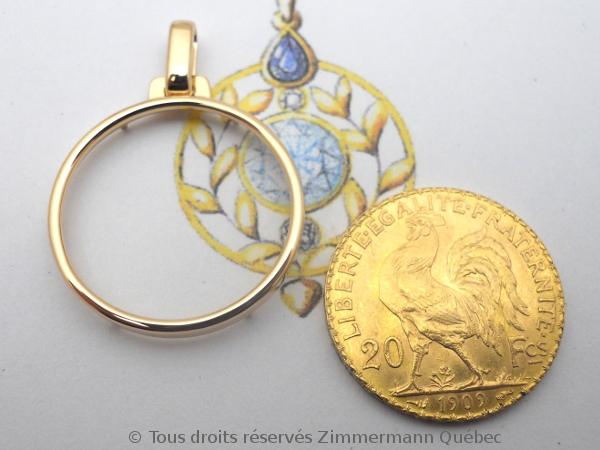 Napoléon Or 20 Francs Marianne Coq 1909 monté en pendentif or rose 18 K Dscn4532