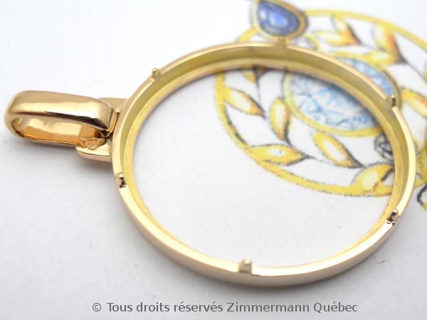 Napoléon Or 20 Francs Marianne Coq 1909 monté en pendentif or rose 18 K Dscn4534