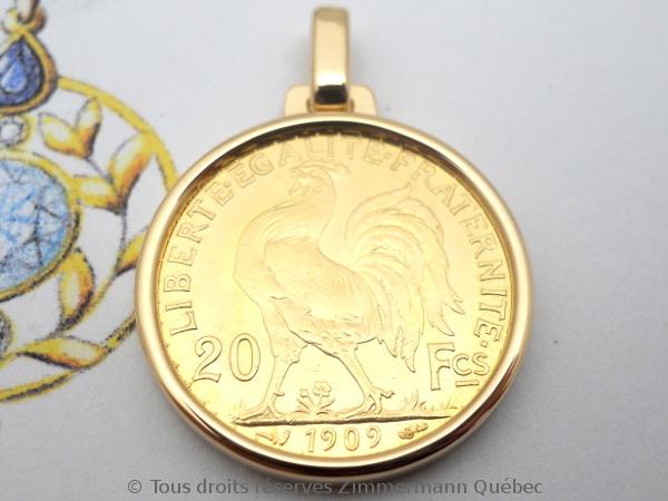 Napoléon Or 20 Francs Marianne Coq 1909 monté en pendentif or rose 18 K Dscn4610