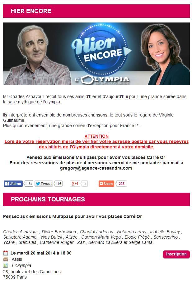 """""""Hier encore"""" à l'Olympia  spécial Charles Aznavour (A venir) 42730610"""