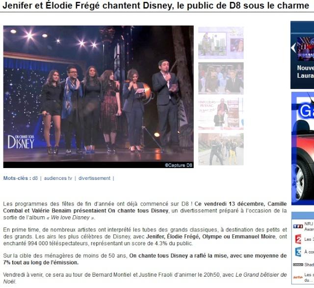 """""""On chante tous Disney"""" sur D8  (13 décembre 2013 à 20h50) Elo13"""