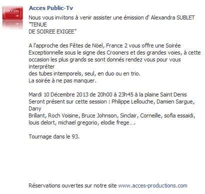 """""""Tenue de soirée exigée"""" sur France 2 (04 janvier 2014 à 20h45) Elo42"""