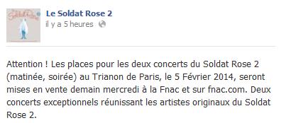 """Concerts """"Le Soldat Rose 2"""" au Trianon de Paris (05 février 2014) Elo48"""