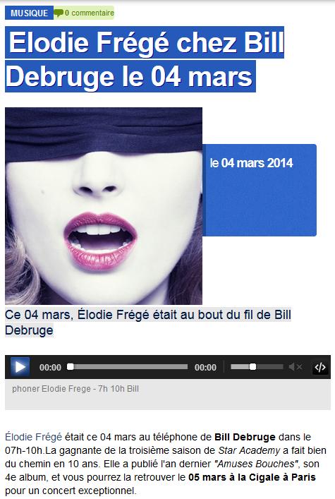 """Elodie Frégé chez """"Bill Debruge"""" sur France Bleu (04 mars 2013) Elo80"""