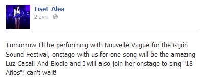 """Concert """"Nouvelle Vague"""" au Gijón Sound Festival (03 avril 2014) Elo91"""