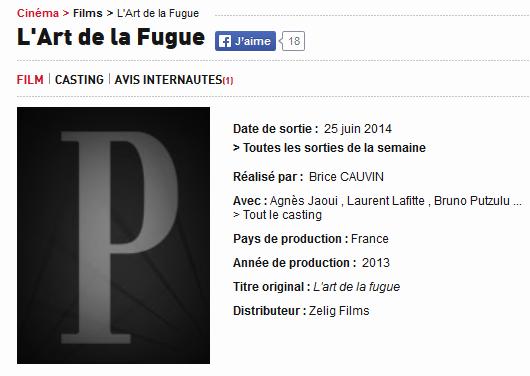"""""""L'Art de la Fugue"""" de Brice Cauvin (Sortie 25 juin 2014) Elo97"""