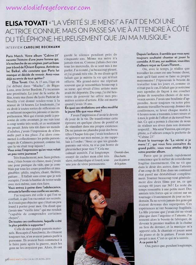 Paris Match : Elisa Tovati/Elodie Frégé : Deux filles au... (24 avril 2014) Pm210