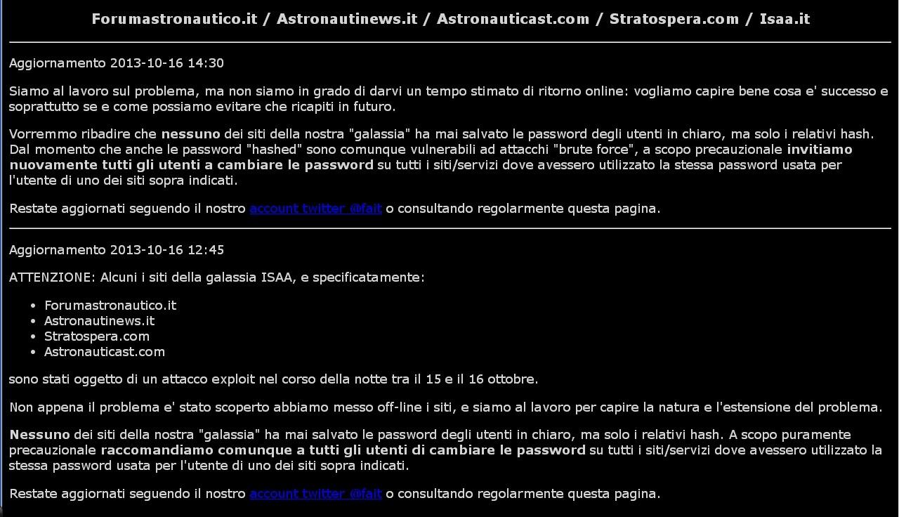 Forum Astronautico off line causa attacco informatico Fa_att10