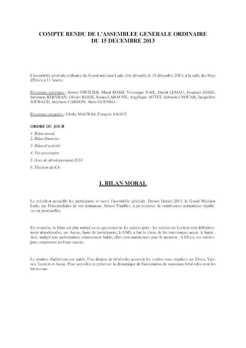 Compte-rendu Assemblée générale ordinaire du 15 Décembre 2013 Compte12