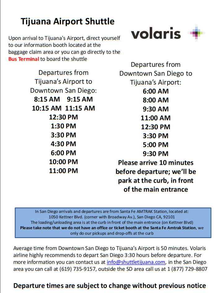Tijuana arrport transportation to from USA Bus_vo10
