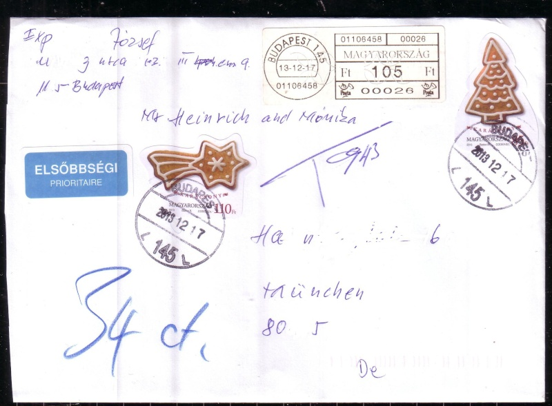 nach - Briefporto von Ungarn nach Deutschland in 2013 Racz10