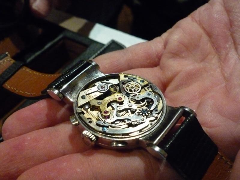 PIECE EXCEPTIONNELLE : TRES RARE Rolex chronograph 2 compteurs, anses articulées, référence 2705, numéro 38325,  acier des années 30; toute signée. 1212ro21