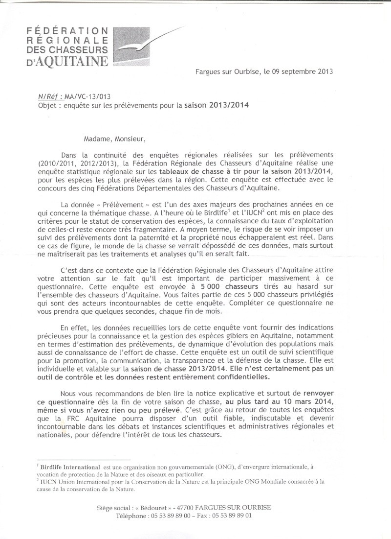 Enquête nationale « Tableaux de chasse 2013/2014 ...  Enquet12