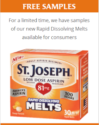 FREE St. Joseph Rapid Dissolving Melts Low Dose Aspirin Sample St-jos10