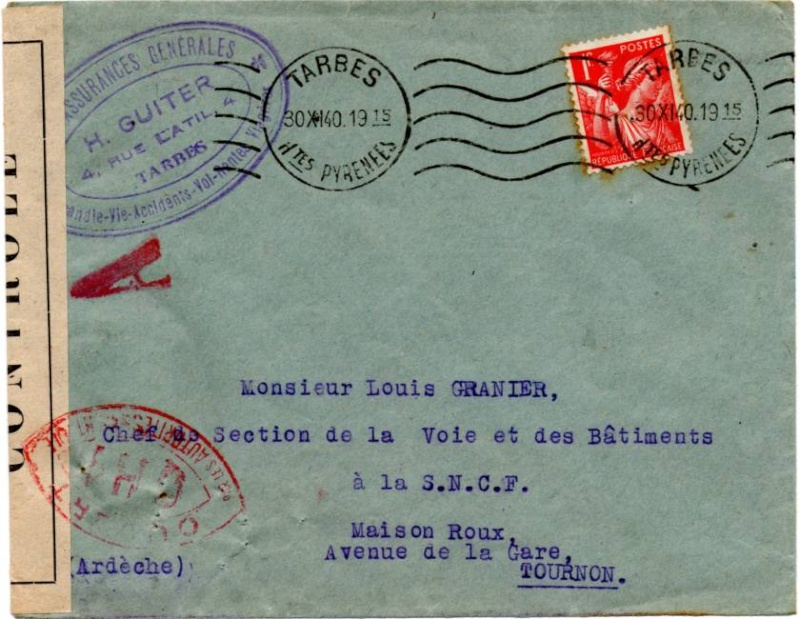 Tarif des lettres pendant la Deuxième Guerre mondiale 1940_c12