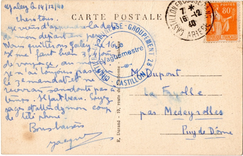 Tarif des cartes postales pendant la Deuxième Guerre mondiale 1940_c13
